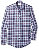 BUTTONED DOWN Men's Slim Fit Supima Cotton Cutaway-Collar Dress Casual Shirt, Large Navy/Berry Check, XL 34/35