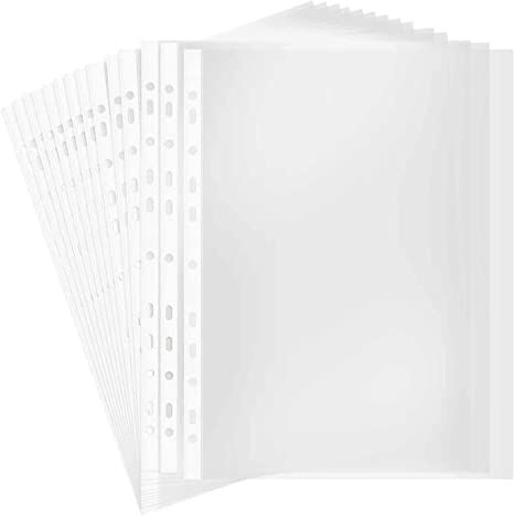 100 Pcs Folder A4 Clear Plastic Punched Pockets Filing Sleeves Document Files