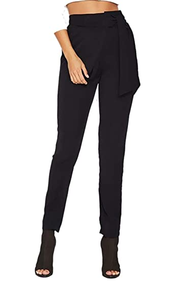 Femme Pantalon Eté Fashion Taille Haute avec Bowknot Pantalon Business Elégante  Slim Fit Fille Vêtements Confortable Automne Pantalon De Loisirs Pantalon  ... 878c3fd0fe79