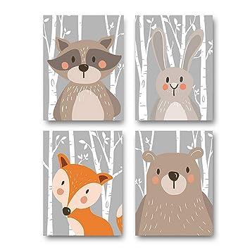 Trayosin 4er Set Kinderzimmer Babyzimmer Poster Bilder DIN A4   Mädchen  Junge Deko   Dekoration Kinderzimmer   Waldtiere Safari Skandinavisch ...