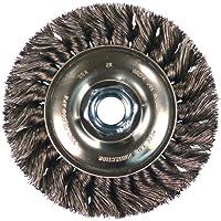 "PFERD 81706 Single Row Power Knot Wire Wheel Brush with Standard Twist, Round Hole, Carbon Steel Bristles, 8"" Diameter, 0.023"" Wire Size, 5/8"" Arbor, 7000 Maximum RPM"