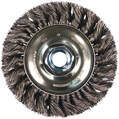 "PFERD 81668 Single Row Power Knot Wire Wheel Brush with Standard Twist, Round Hole, Carbon Steel Bristles, 6"" Diameter, 0.023"" Wire Size, 5/8""-1/2"" Arbor, 9000 Maximum RPM"