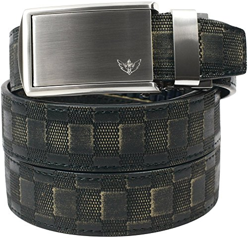 SlideBelts Men's Animal-Friendly Leather Belt without Holes - Winged Silver Buckle / (Distressed Leather Buckle)