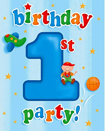 amazon com 8 count party invitations fun at one happy birthday boy
