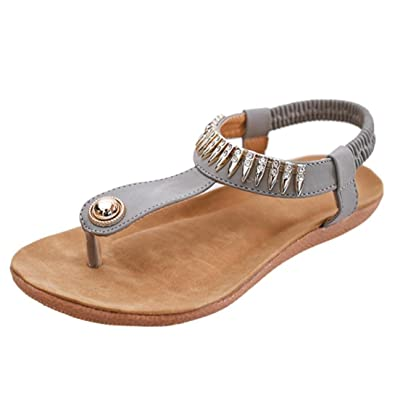 Clearance!Ladies Peep-Toe Low SandalsZYUPUP Elastic Breathable Flat Sandals Roman Shoes Flip FlopsOutdoor