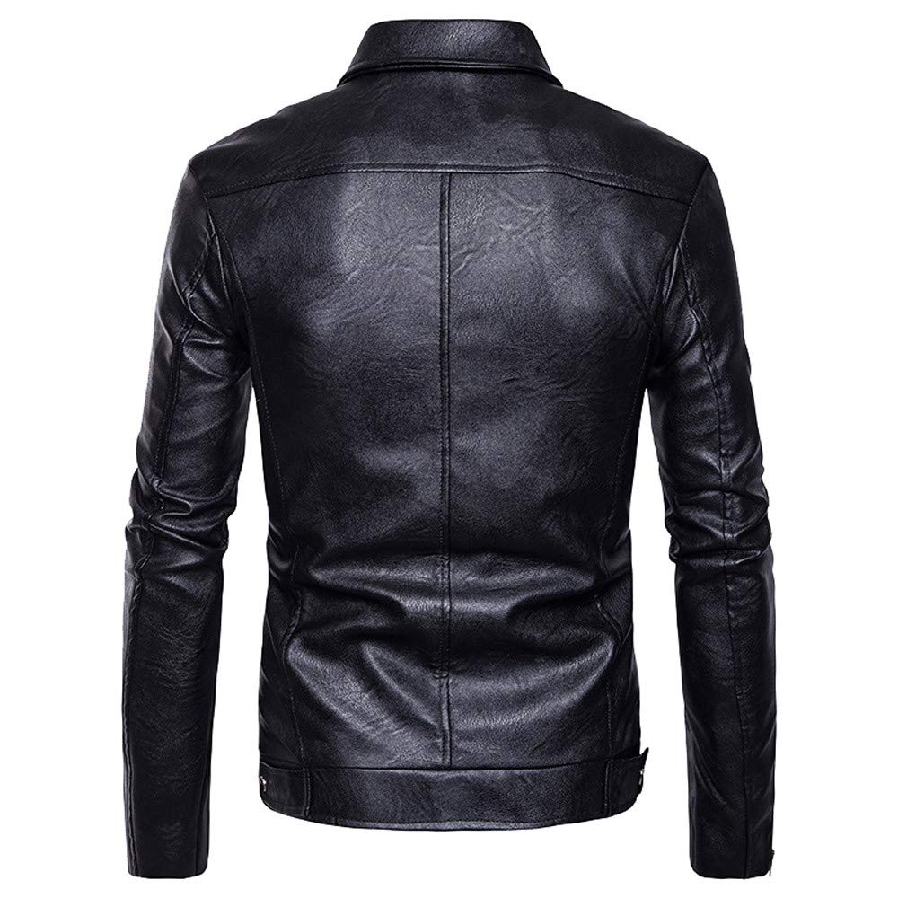 261224abd35d Motorcycle Leather Jacket Mens - Double Rider Biker Jackets Men Moto  Outwear Autumn Lapel Collar Faux Leather Big Tall Coat Jacket   Amazon.co.uk  Clothing