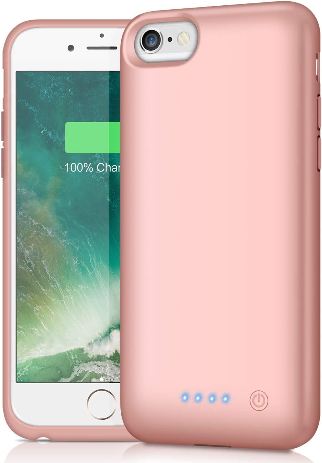 Battery Case for iPhone 6/6s/7/8, [Upgraded 6000mAh] Ekrist Portable Ultra-Slim Protective Charging Case, Extended Rechargeable Smart Battery Pack, Backup Charger Case Power Bank Cover (Rose Gold)