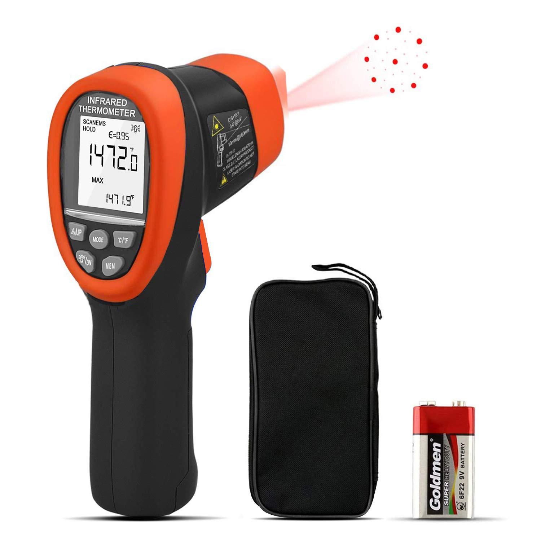 Termómetro Infrarrojo Digital AP-985C Pistola de Temperatura de Mano Medidor IR Láser sin Contacto -50~800℃/-58~1472℉ D:S=16:1 Emisividad Ajustable+Retención de Datos+Retroiluminado