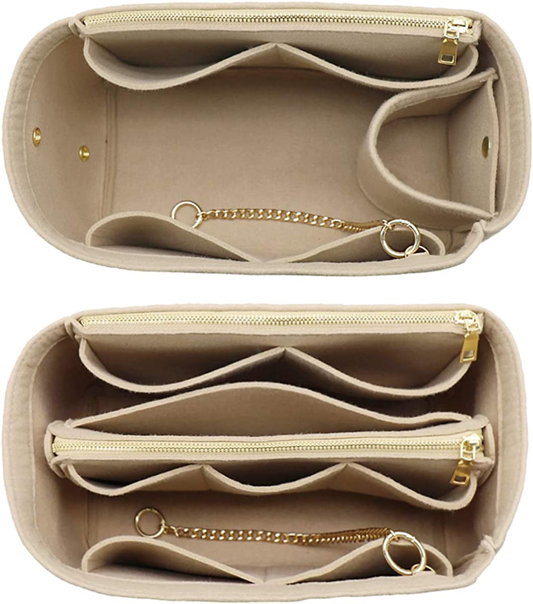 3 in 1 Felt Purse Organizer Insert Bag in Bag with a Bottle Holder Shaper