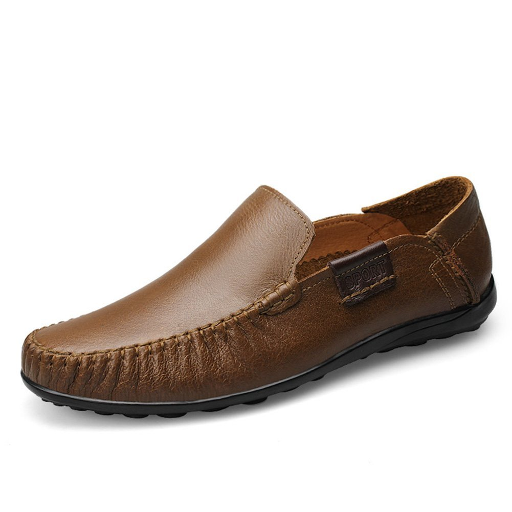 TALLA 41.5 EU. Shenn Hombre Conducción Coche Ponerse Comodidad Cuero Mocasines Zapatos