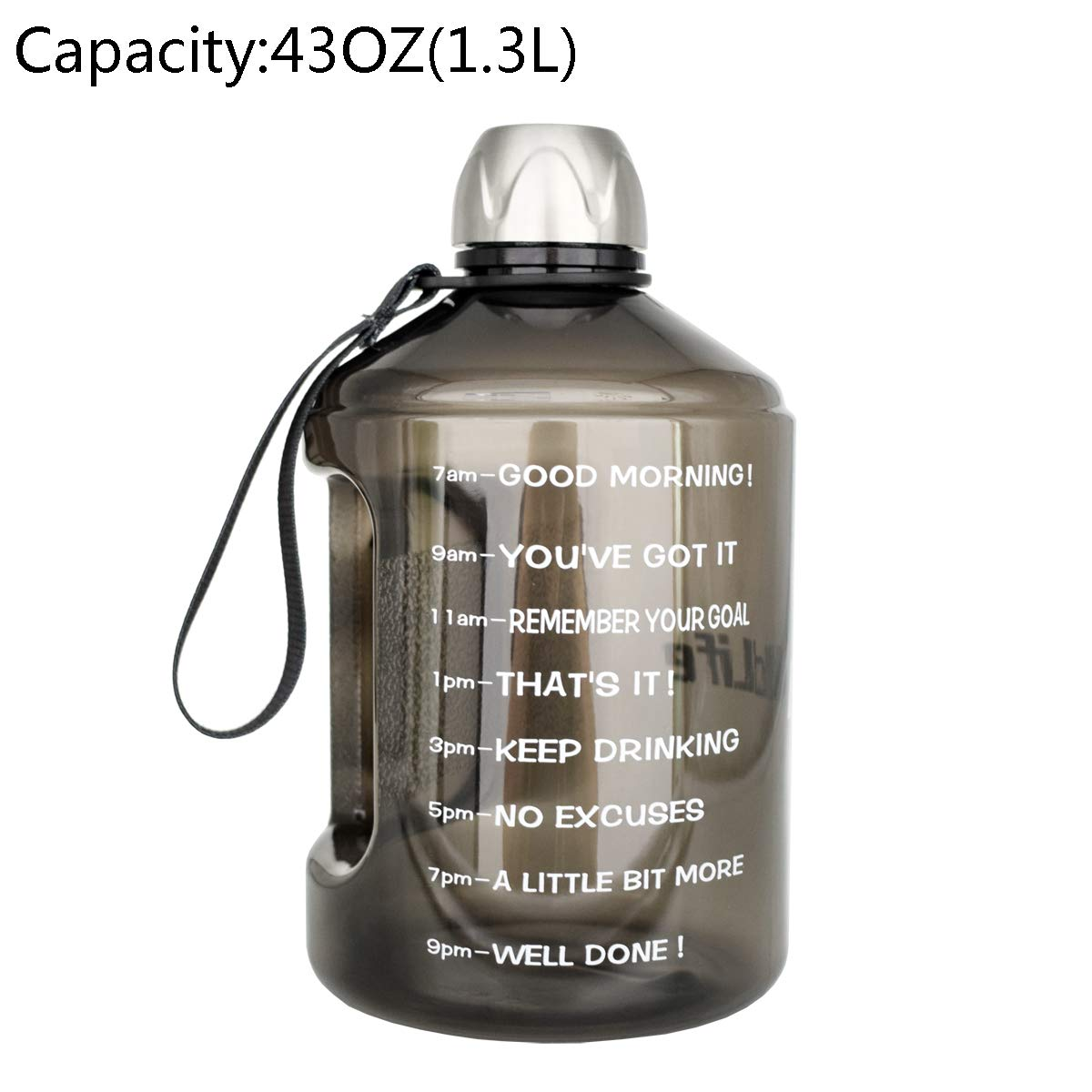 BuildLife 43OZ(1.3L) Water Bottle Motivational Fitness Workout with Time Marker  Drink More Water Daily   Clear BPA-Free  Water Throughout The Day for Child (1.3L-Black, 1.3L)