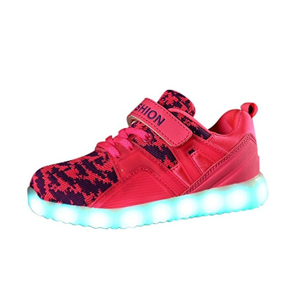FG21ds21g Kids LED Light Up Shoes Colors Breathable USB Charging Flashing Sneakers for Christmas