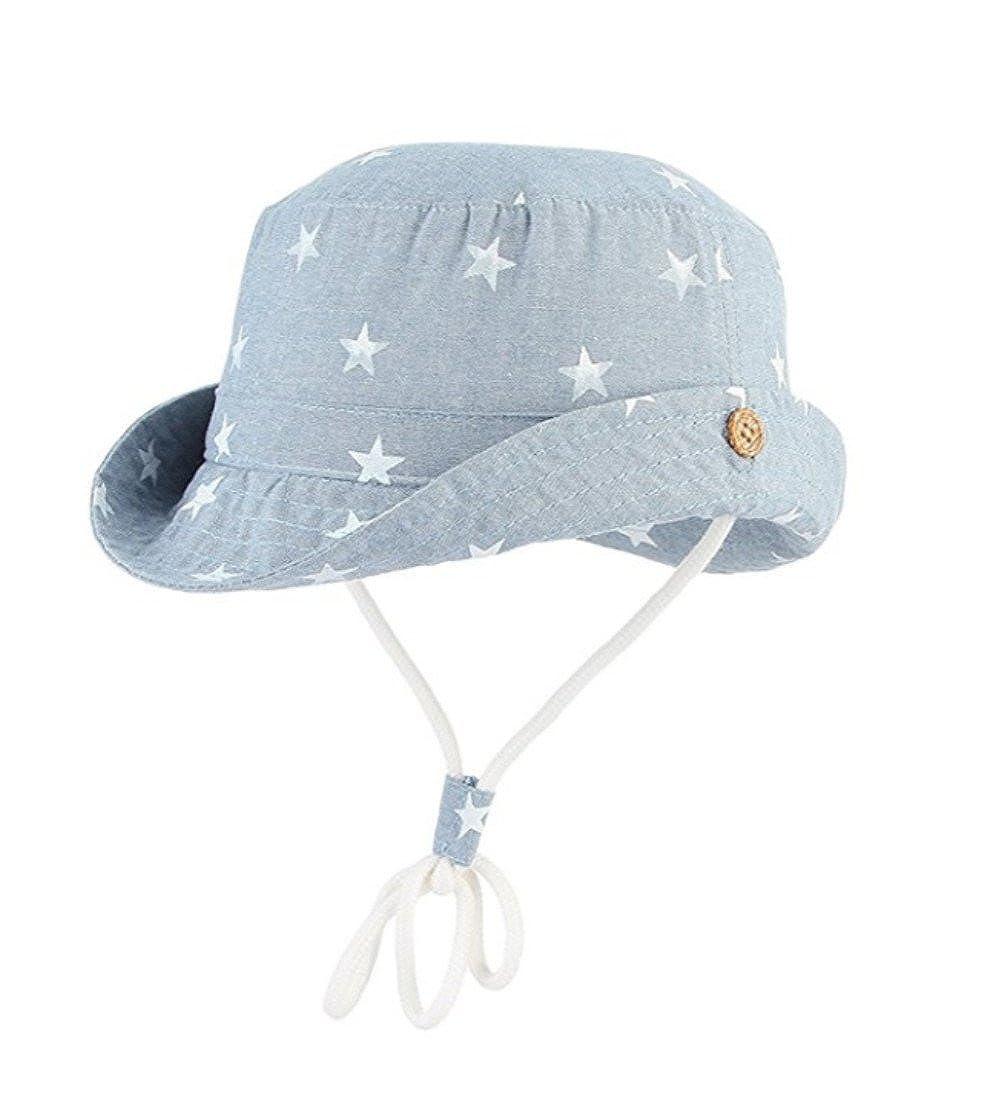NB Bébé Fille Garçon Chapeau de Soleil Unisexe en Coton Pliable Protection Anti-UV Solaire Bonnet avec Cordon Coton Bord Bleu étoile