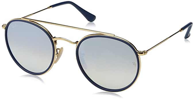 Ray-Ban 0RB3647N, Gafas de Sol Unisex Adulto, Dorado (Silver Gradient Flash), 51