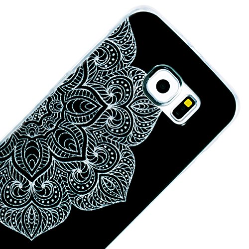 Funda Samsung S6, WE LOVE CASE Ultra Fina Slim Suave Funda Samsung Galaxy S6 Silicona Purpurina Bling Glitter Cubierta Clear Cover Original Flexible Gel Dibujos Anti Rasguños Choque con Diseño Protect Mandala