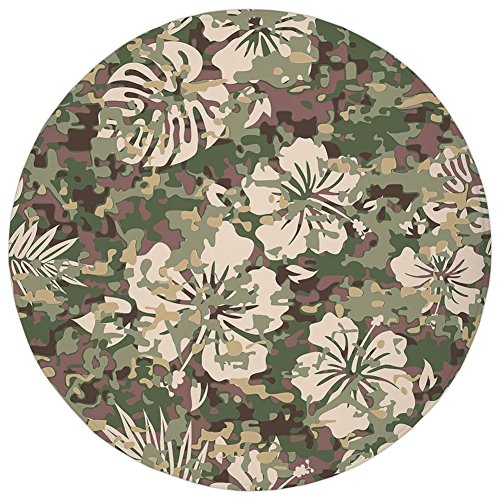 Round Rug Mat Carpet,Camo,Aloha Hawaiian Tropical Jungle Forest Hibiscus Flowers Leaves Nature,Baby Pink Green Dark Brown,Flannel Microfiber Non-slip Soft Absorbent,for Kitchen Floor Bathroom (Aloha Flannel)