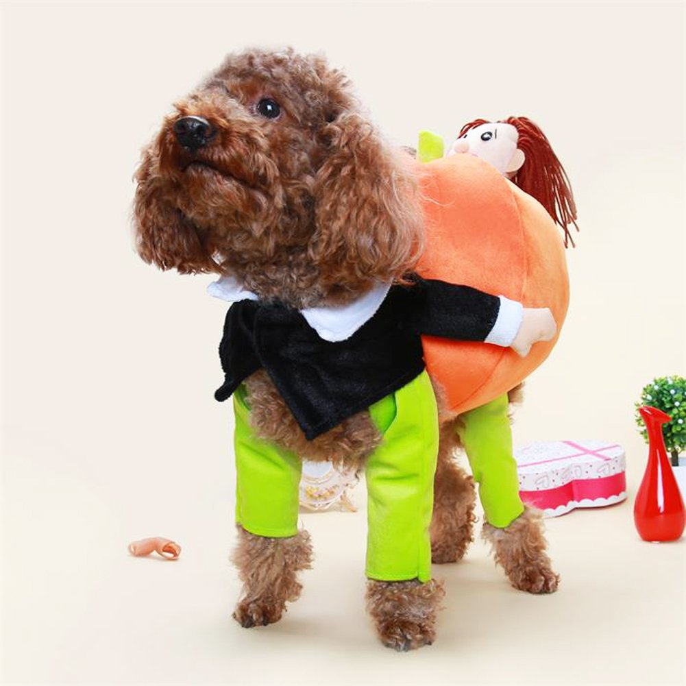 Pumpkin M pumpkin M blueeSpace Pet Costume Dog Cat Pumpkin Pets Suit Halloween Costumes Pets Clothing Small Dogs Cats, Perfect Halloween Christmas Theme Party, M