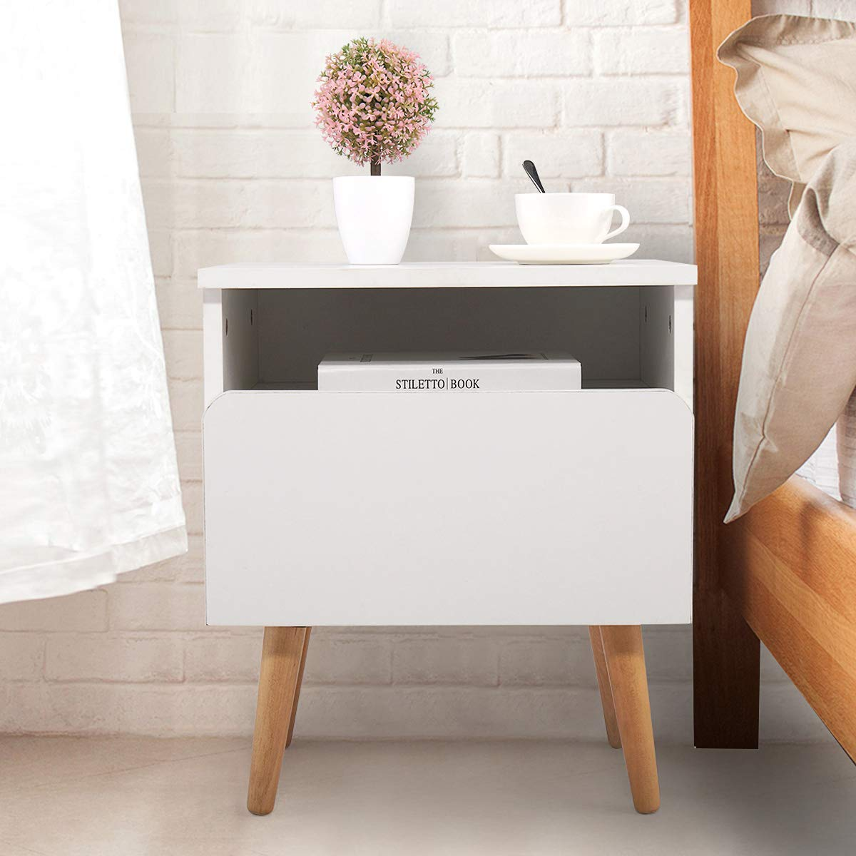 White Side End Table Nightstand w/Drawer Mid-Century Accent Wood Furniture