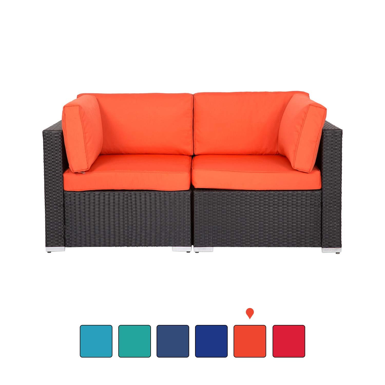 Kinsunny Peach Tree Wicker Loveseats Patio Sectional Corner Sofa Rattan Outdoor Thick Sofa Set by Kinsunny