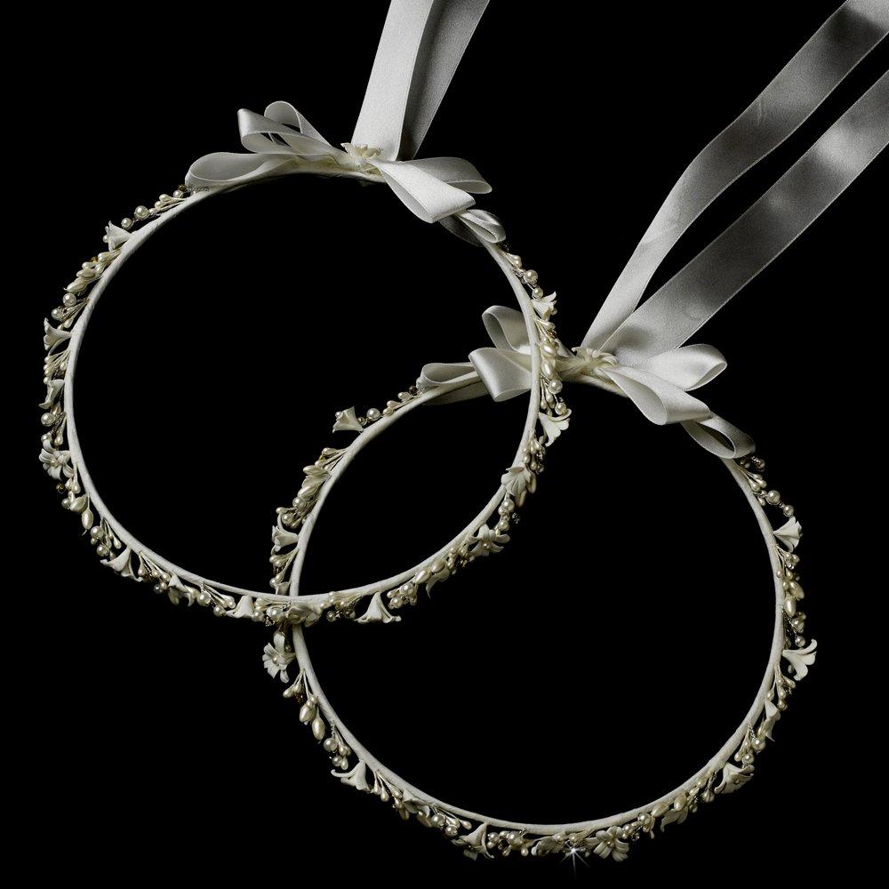 Nicoletta White Flower & Pearl Greek Stefana Wedding Crowns Bridal Ribbon Headband