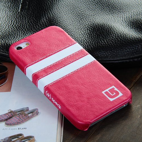 RAYTOP Classic Stylish Luxury Hot Pink Stripes Leather Cases Covers for Apple iPhone 5 5G 5S iPhone5 for Women Girls Cheap High Quality Ultra Slim