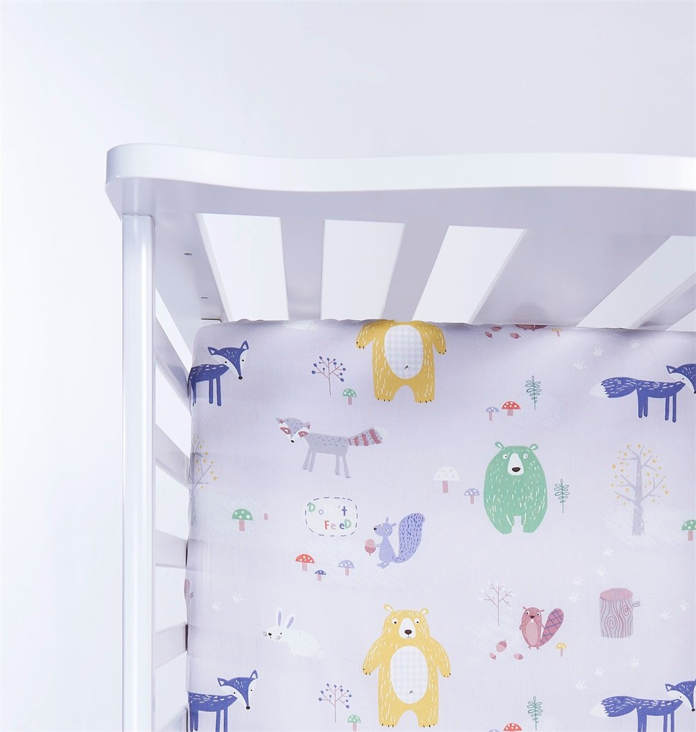 100% Jersey Cotton Crib Sheets Top Quality Nursery Bedding for Boy or Girl 2 Pack Soft Baby Shower Gift in Gray and White with Animal worlds