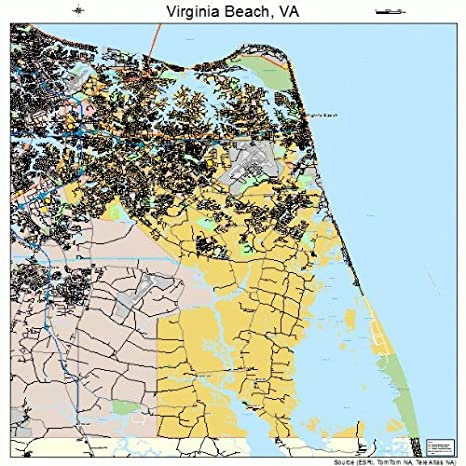 Amazon Com Image Trader Large Street Road Map Of Virginia Beach