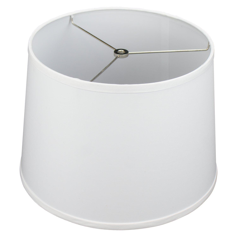FenchelShades.com 12'' Top Diameter x 14'' Bottom Diameter 10'' Slant Height Fabric Barrel Lampshade Spider Attachment (White)