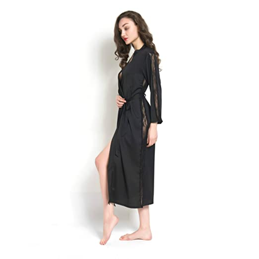 1fdb58214e Women Lace Trim Kimono Pajamas Satin Sleeve Long Wrap Robe Cover Sleep Wear  Dress (Black) at Amazon Women s Clothing store