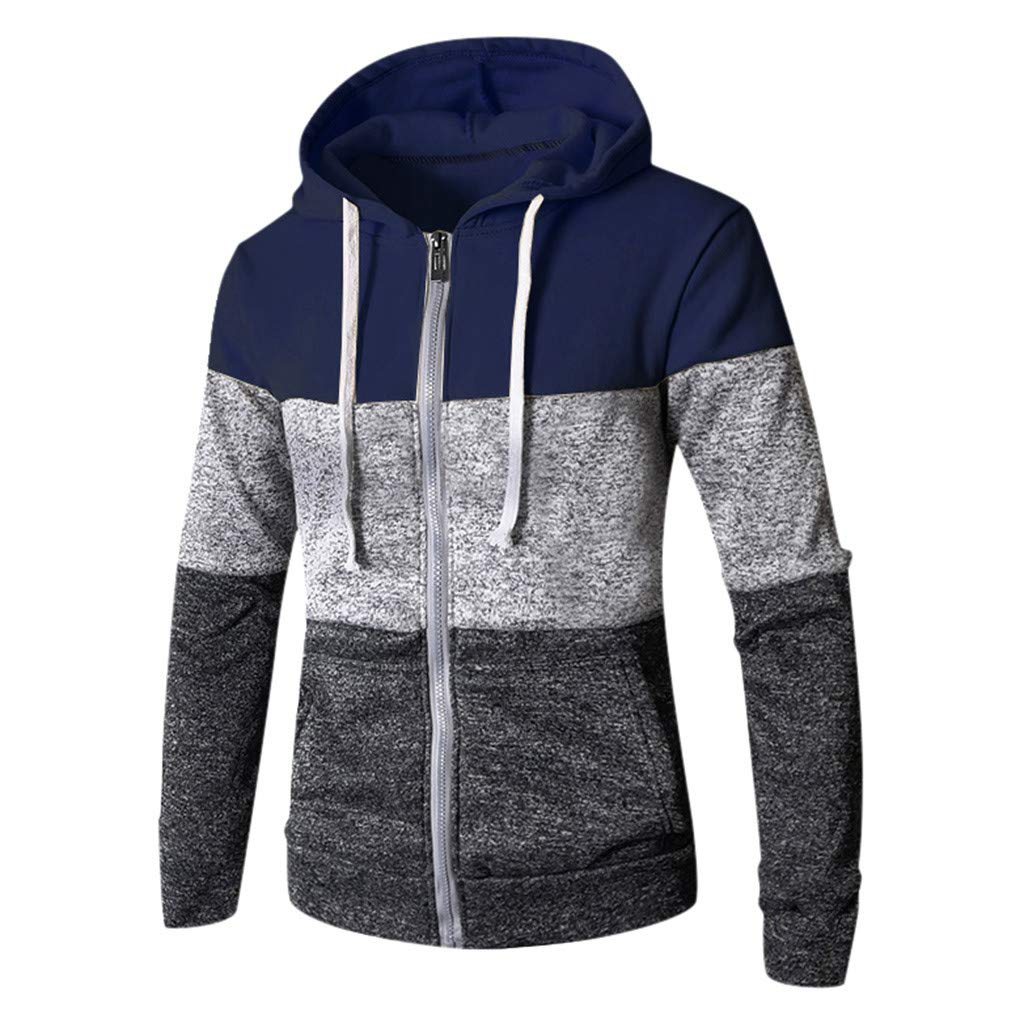 iLXHD Men Long Sleeve Patchwork Zip-Up Sport Slim Knitted Hoodie Sweater Coat Navy by iLXHD