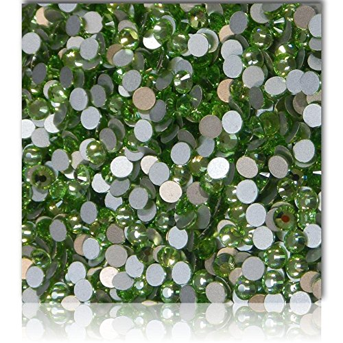 "100% Custom Made (Assorted) 1200 Bulk Pieces of Mini Size ""Glue-On"" Flatback Embellishments for Decorating, Made of Acrylic Resin w/ Shiny Iridescent Crafting Rhinestone Crystal Jade Style {Green} by mySimple Products"