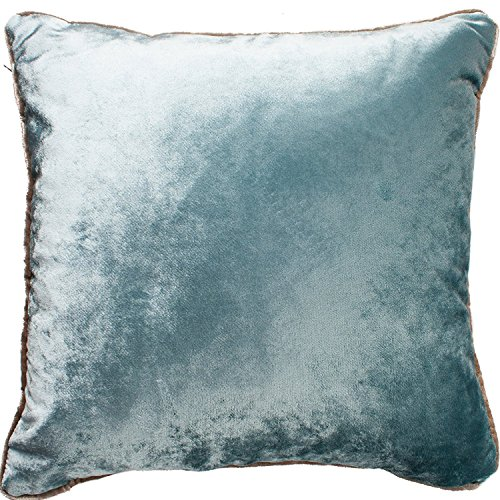 McAlister Textiles Shiny Velvet | Throw Pillow with Filler in Duck Egg Blue | Square 20 x 20 Inches | Plump Decorative Toss Cushion Crushed Metallic Look Modern Plush Decor