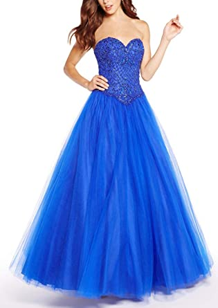 Fannydress Beading Crystal Ball Gowns Quinceanera Dresses Girls Lace-up Tulle Prom Dress Graduation Dress