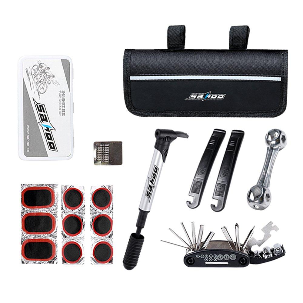 Bike Repair Tool Kits, BODECIN 16 in 1 Multifunction Purpose Bike Bicycle Repair Tool Kit Set with Saddle Bag, Bike Mini Pump Tire Inflator and Patch Crowbar