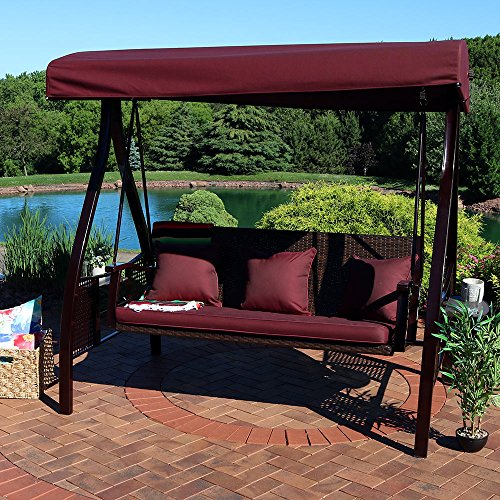 Sunnydaze 3-Seat Deluxe Outdoor Patio Swing with Heavy Duty Steel Frame, Canopy, Maroon Cushions and Attached Side Tables (Garden Metal 3 Bench Seater)