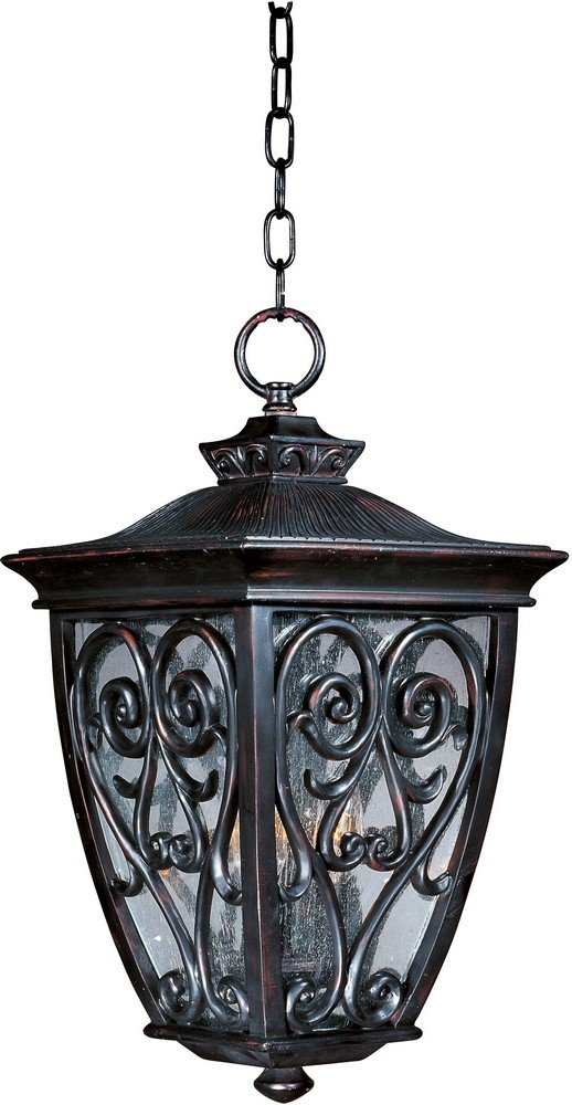 Maxim 40128CDOB Newbury VX 3-Light Outdoor Hanging Lantern, Oriental Bronze Finish, Seedy Glass, CA Incandescent Incandescent Bulb , 60W Max., Damp Safety Rating, Standard Dimmable, Frosted Glass Shade Material, Rated Lumens