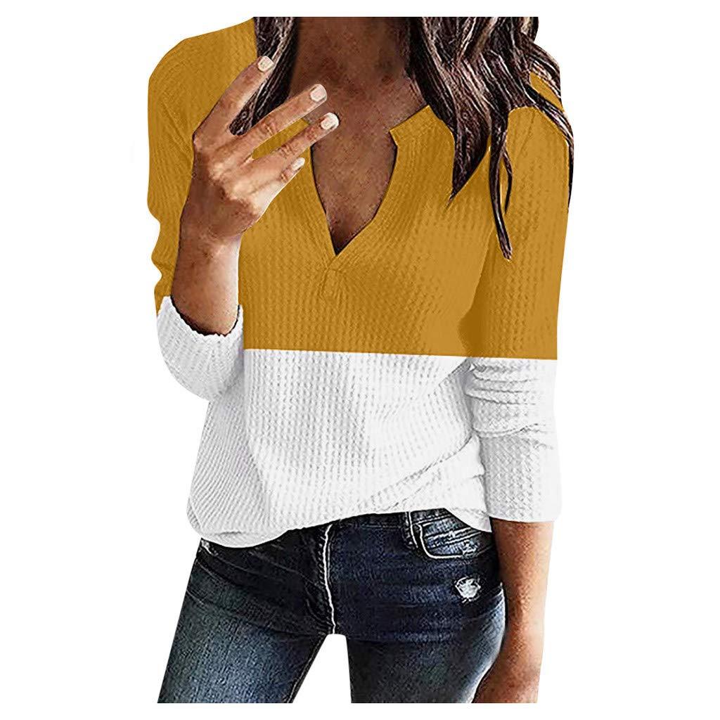 Fanybin Womens Deep V Neck Shirts Color Block Stitching Long