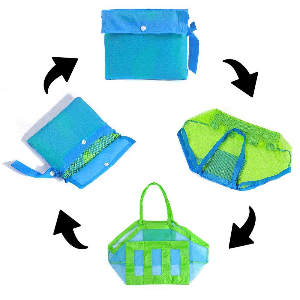 da791a8d5 2PCS Beach Mesh Tote Bag Large Foldable Sand Away Children Beach Toys  Organizer Storage Bags,Mesh ...