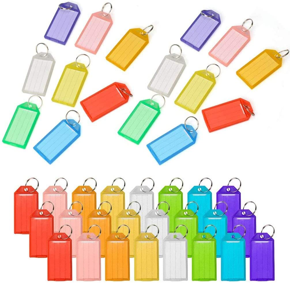 88 Pcs Plastic Key Tags, Key Tags Split Ring Labels Windows, Keychain Tags ID Name Label for Home, Office and School, 8 Colors