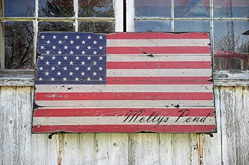 The Lizton Sign Shop Mollys Pond Vermont, Hand-made American Flag Wooden Sign - Custom Lake Name Distressed Wooden Sign - 27.5 x 48 Inches -