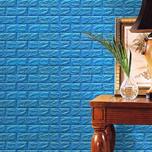 Mikey Store PE Foam 3D Wallpaper DIY Wall Stickers Wall Decor Embossed Brick Stone (Blue)