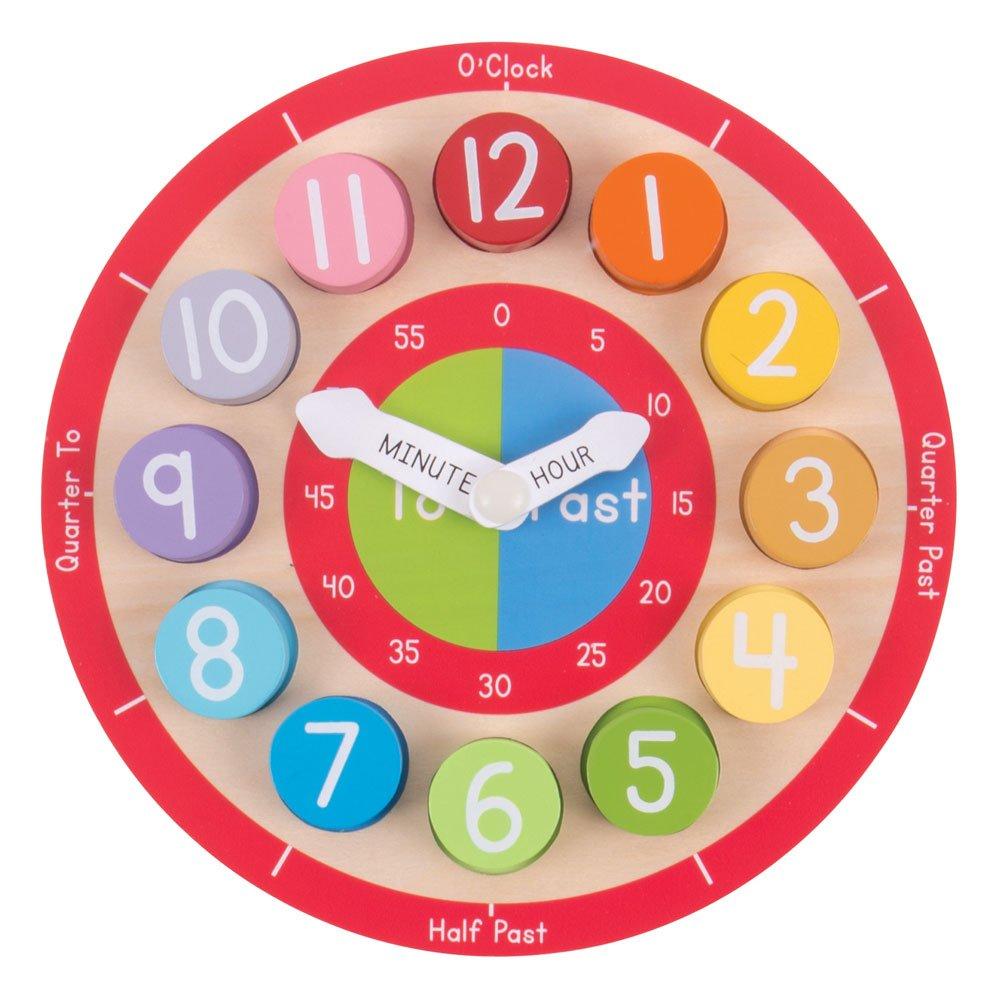 Bigjigs Toys Wooden Teaching Clock - Tell The Time BJ906