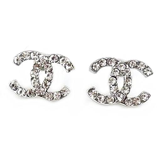 23d6a4b176 Carolina Dezman: Argento placcato, ispirati al design CC logo orecchini  borchie. Orecchini CZ