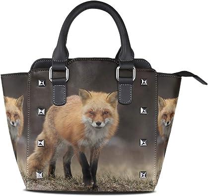 Womens Leather Top Handle Shoulder Handbag Snow Fox Large Work Tote Bag