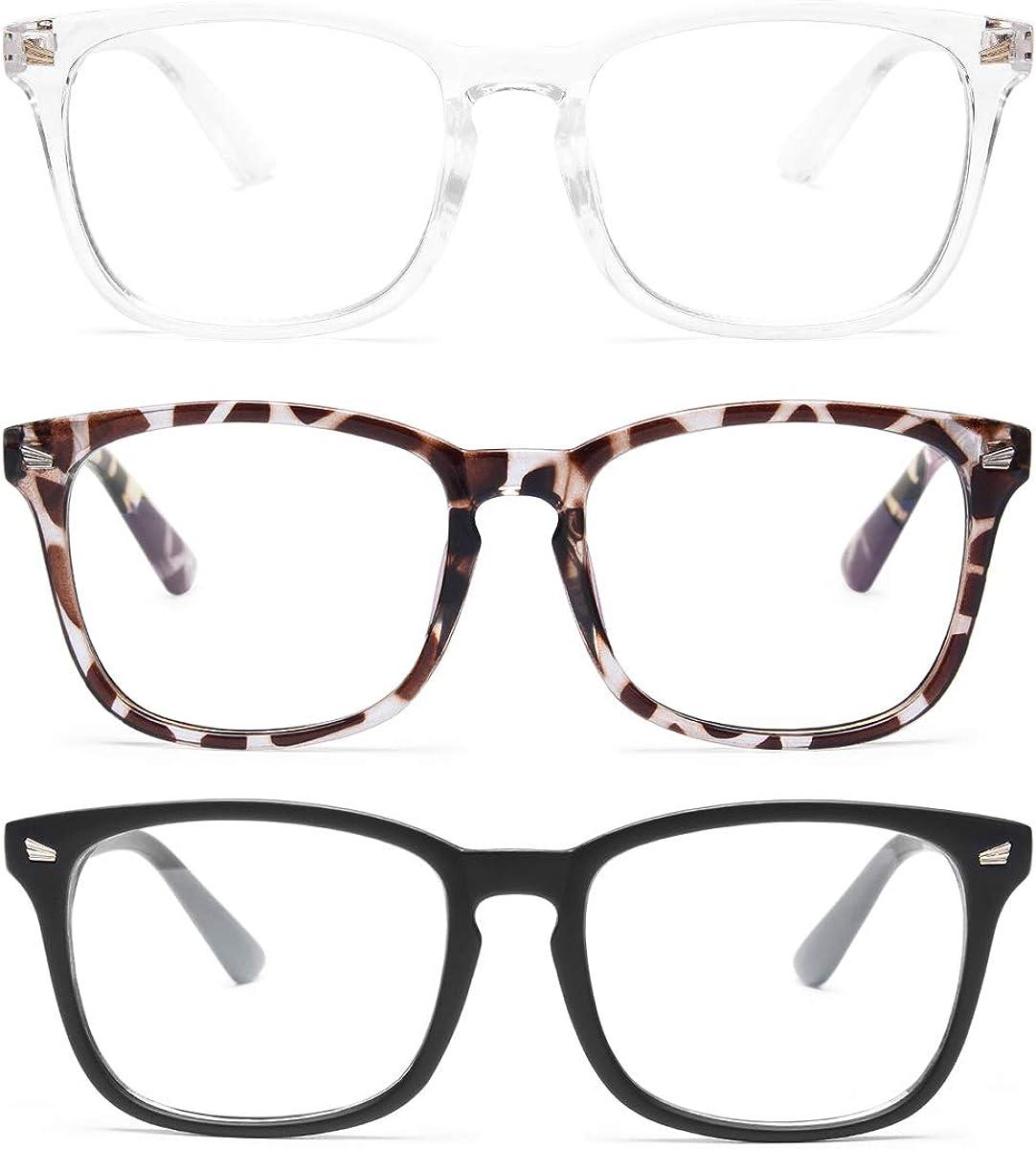 Gaoye 3-Pack Blue Light Blocking Glasses, Fashion Square Fake Nerd Eyewear Anti UV Ray Computer Gaming Eyeglasses Women/Men