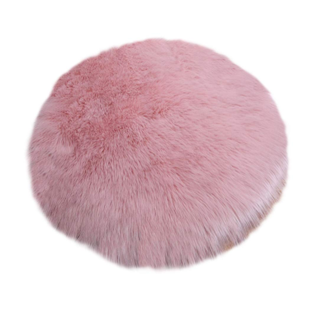 Elhouse Round Mat Home Decor Faux Fur Sheepskin Rugs Kids Carpet Nursery Bedroom Fluffy Rug Shaggy Area Rug, Diameter 3ft Baby Pink