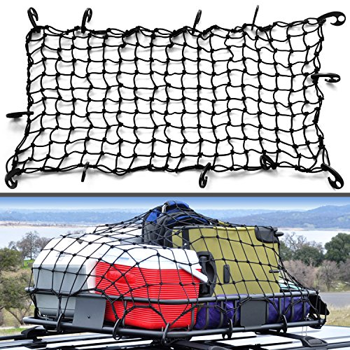 22 X38  Super Duty Bungee Cargo Net Stretches To 44 X76    Small 2 X2  Mesh Holds Small And Large Loads Tighter   12 Adjustable Hooks   For Rooftop Cargo Carrier  Atv  Utv  Cargo Hitch