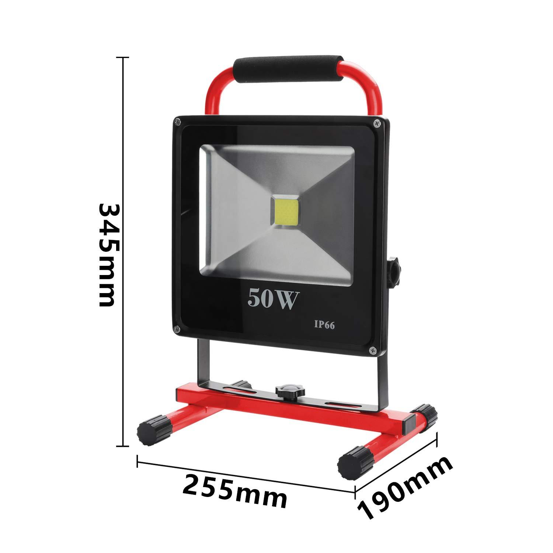 Hengda Akku LED 10W Warmwei/ß Fluter Mit Teleskop-Stativ Baustrahler Arbeitsleuchte Werkstattlampen Campinglaterne