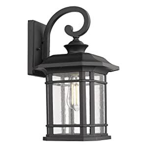 "Emliviar Outdoor Wall Lights for House, 1-Light Exterior Wall Sconce Black Finish with Clear Seeded Glass, 17"" Height, 22021M"