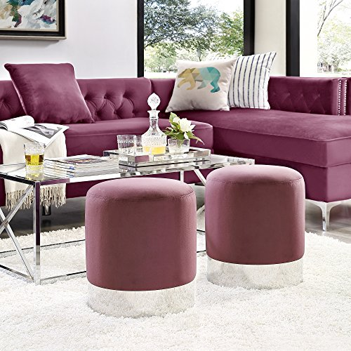 Inspired Home Elsa Plum Velvet Round Ottoman - Chrome Metal Base | Upholstered | Modern | Contemporary | 1 pc ()